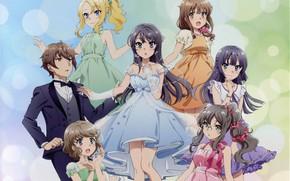 Картинка девушки, парень, гарем, Seishun Buta Yarou wa Bunny Girl Senpai no Yu