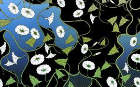 Картинка листья, цветы, синий, фон, узор, черный, текстура