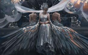 Картинка девушка, ангел, сидит
