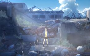 Картинка небо, девушка, руины