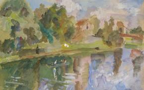 Картинка рисунок, акварель, 1935, Robert Falk, Роберт Фальк, Гребля на реке