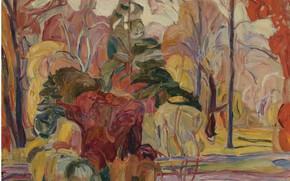 Картинка Abraham Manievich, FALL SCENE oil on canvas laid, down on board