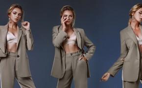 Картинка девушка, поза, стиль, фон, коллаж, костюм, пиджак, брюки, Евгений Ангелов, Angelov