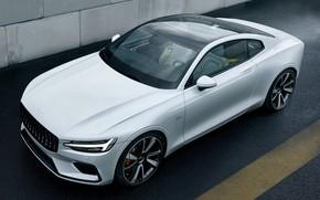 Картинка машина, авто, асфальт, Volvo, Вольво, белая, Hybrid, гибрид, Volvo Polestar 1