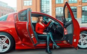 Картинка машина, авто, девушка, поза, Mazda, Mazda RX-8, Дмитрий Филатов