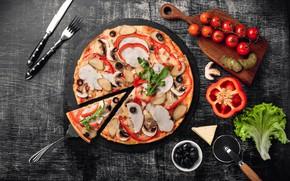 Картинка грибы, сыр, перец, пицца, помидоры