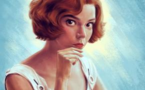 Картинка взгляд, девушка, поза, фон, фильм, рисунок, портрет, макияж, платье, арт, прическа, рыжая, Аня Тейлор-Джой, Anya …