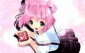 Картинка радость, сердечки, школьница, art, большие глаза, розовые глаза, матроска, ueda ryou, подарочек, юбка в клетку, …