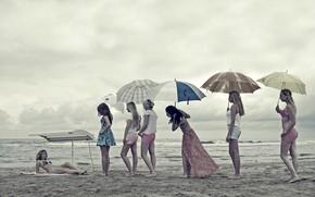 Картинка пляж, девушки, юмор, очередь