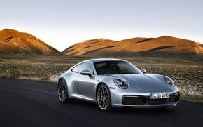 Картинка дорога, небо, горы, купе, 911, Porsche, Carrera 4S, 992, 2019