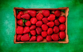 Картинка фон, коробка, клубника, ягода, зелёный, красная
