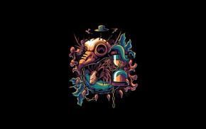 Картинка Art, Skull, Vector, Background, Bird, Illustration, Minimalism, Mask, Animal, Mystic, Hedgehog, Angga Tantama, Hope in …