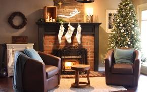 Картинка украшения, праздник, елка, свечи, Рождество, Новый год, камин