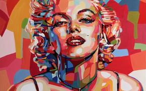 Картинка Девушка, Взгляд, Блондинка, Модель, Лицо, Актриса, Мэрилин Монро, Marilyn Monroe
