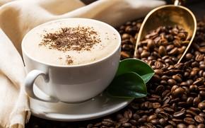 Картинка кофе, зерна, чашка, капучино, пенка, coffee