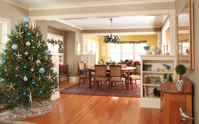Картинка украшения, елка, интерьер, Рождество, Новый год, столовая