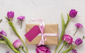 Картинка любовь, цветы, подарок, розы, лепестки, тюльпаны, love, розовые, pink, romantic, tulips, purple, petals, roses, gift …
