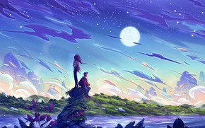 Картинка girl, moon, river, sky, landscape, woman, night, art, clouds, stars, hills, man, boy, couple, artist, …