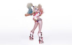 Обои Девушка, Минимализм, Рисунок, Бита, Harley, Фон, Комикс, Арт, Харли Квинн, DC Comics, Harley Quinn, Quinn, ...