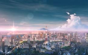 Картинка небо, пейзаж, город, Токио