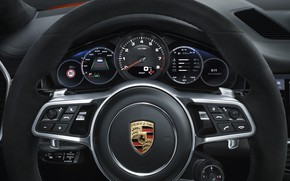 Картинка Porsche, спидометр, руль, Coupe, Turbo, Cayenne, приборная панель, 2019
