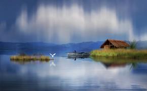 Обои пейзаж, природа, дом, пруд, камыши, птица, лодка, графика, цапля, digital art