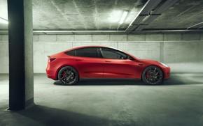 Картинка вид сбоку, Tesla, Novitec, Model 3, 2019