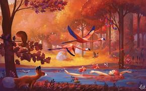 Картинка лес, животные, девушка, рыбы, пейзаж, птицы, природа, река, фэнтези, арт, иллюстрация
