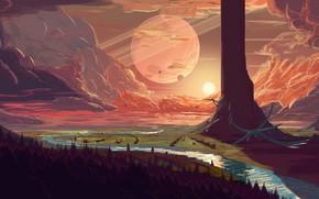 Картинка fantasy, forest, river, trees, sunset, clouds, planet, artist, digital art, artwork, fantasy art, creature, fantasy …