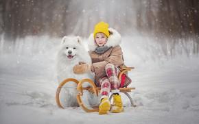 Картинка зима, снег, собака, девочка, санки, пёс, подросток, Ксения Лысенкова