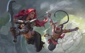 Картинка девушка, мужик, сабли, Лига Легенд, League Of Legends
