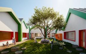 Картинка дети, двор, пни, строения, Детский сад и культурный центр