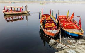 Картинка river, people, india, boating