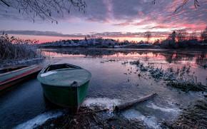 Картинка иней, пейзаж, природа, река, рассвет, лёд, лодки, утро, заморозки, Дубна, Андрей Чиж