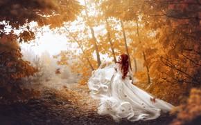 Картинка осень, девушка, фото, листва, платье, рыжая, невеста, Екатерина Скоробогатова