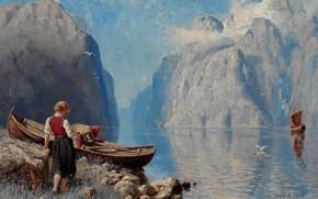 Обои норвежский художник, Norwegian painter, Hans Andreas Dahl, Ханс Андреас Даль, Norsk fjordlandskap, Норвежский фьорд пейзаж