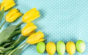 Картинка цветы, фон, яйца, Пасха, тюльпаны, крашенки, жёлтые тюльпаны