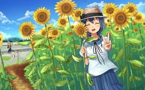 Картинка лето, подсолнухи, девушки, арбуз, Yuru Yuri, Sakurako Oomuro, Himawari Furutani