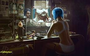 Картинка Девушка, Игра, Арт, Киборг, CD Projekt RED, Cyberpunk 2077, Киберпанк, Cyberpunk, Киберпанк 2077, Киборги, 2077, …
