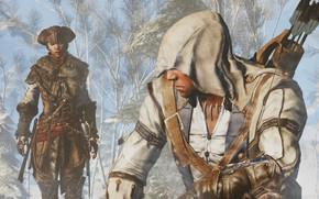Картинка лес, люди, ассасин, Assassin's Creed III