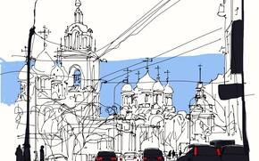 Картинка улица, рисунок, Москва