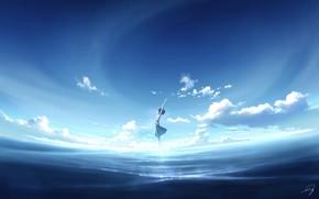 Картинка небо, вода, девушка