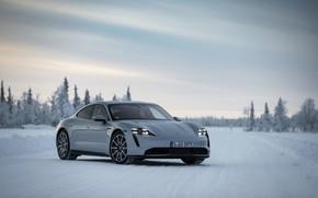 Картинка снег, серый, Porsche, на дороге, 2020, Taycan, Taycan 4S