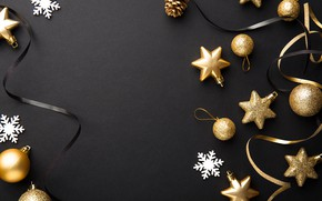Картинка украшения, золото, шары, Новый Год, Рождество, golden, черный фон, black, Christmas, balls, background, New Year, …