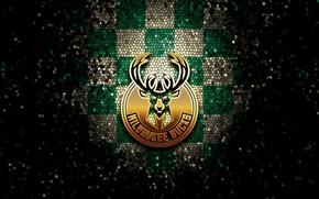 Картинка wallpaper, sport, logo, basketball, NBA, Milwaukee Bucks, glitter, checkered