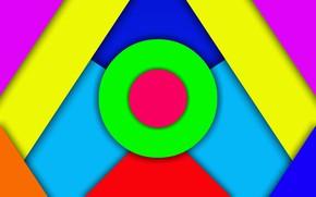 Картинка цвета, круги, яркие, треугольники, слои