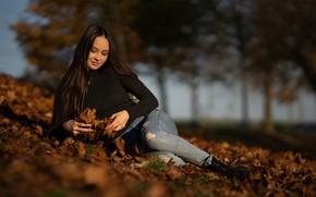 Картинка осень, девушка, поза, настроение, джинсы, Anastasia, длинные волосы, опавшие листья, Martin Ecker