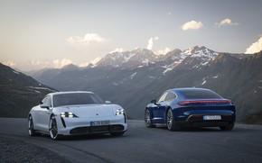 Картинка машина, горы, Porsche, turbo, turbo s, Taycan