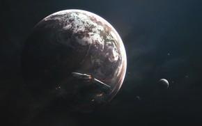 Картинка Звезды, Катастрофа, Авария, Планета, Космос, Планеты, Planets, Арт, Stars, Space, Art, Космический Корабль, Спутник, Planet, ...