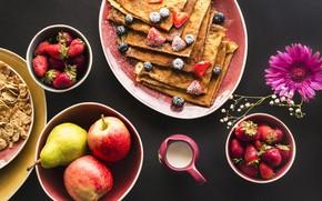 Картинка ягоды, завтрак, клубника, фрукты, блины